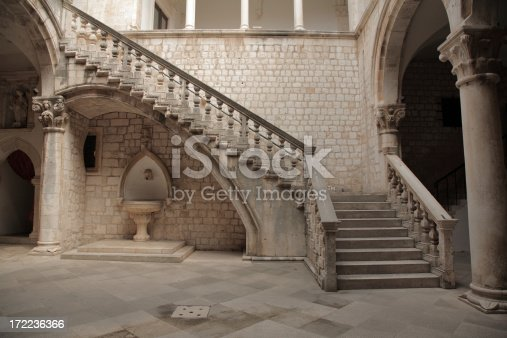 istock Stone staircase and courtyard. 172236366