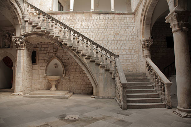 Stone staircase and courtyard. stock photo