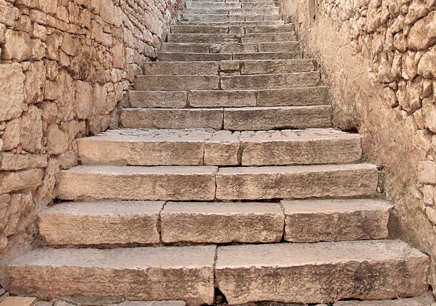 Stone staircase and wall. stock photo