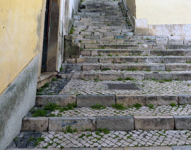 Stone staircase between buildings. stock photo