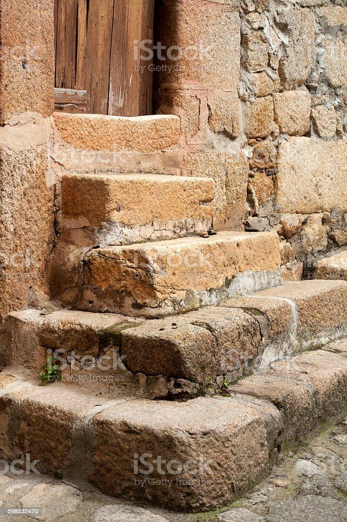 Stone staircase, doorway, photo libre de droits