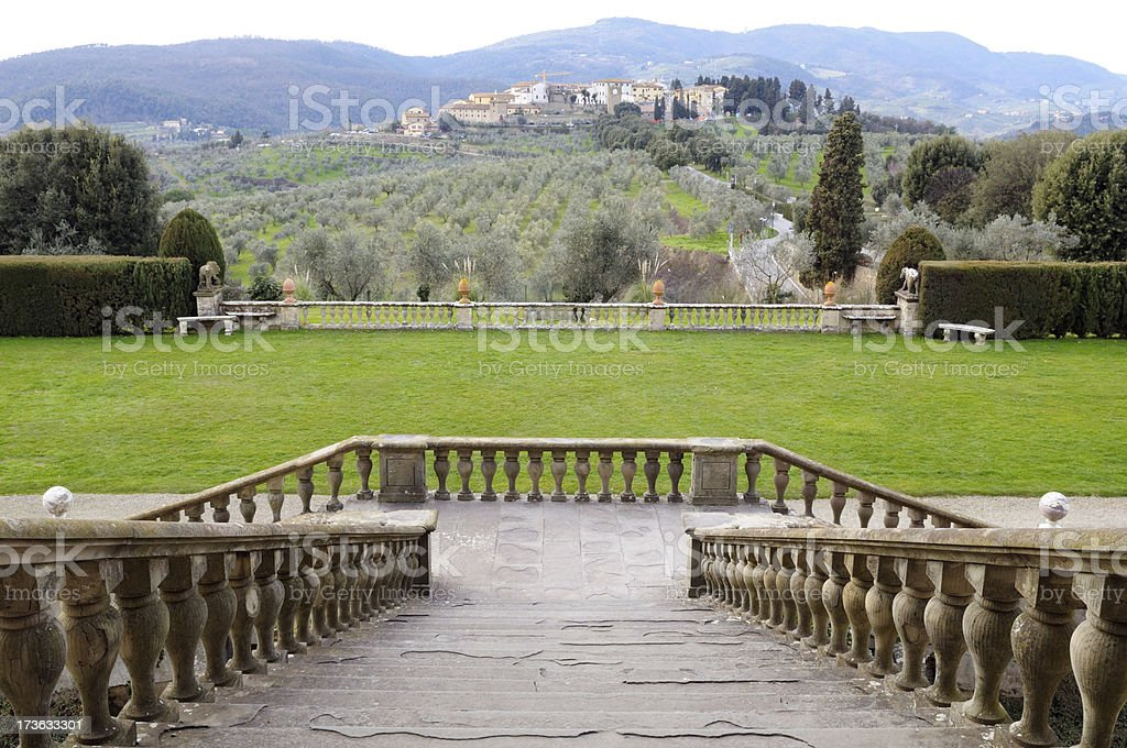 Stone Staircase in Ancient Villa,Chianti Region stock photo