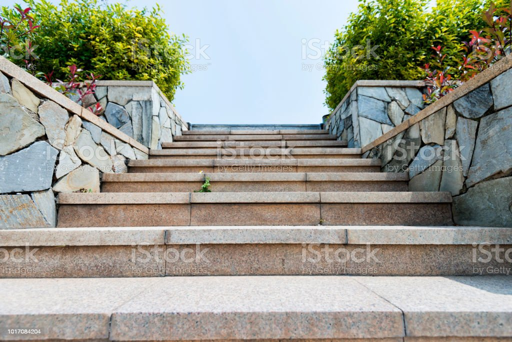 Stone staircase in the park stock photo