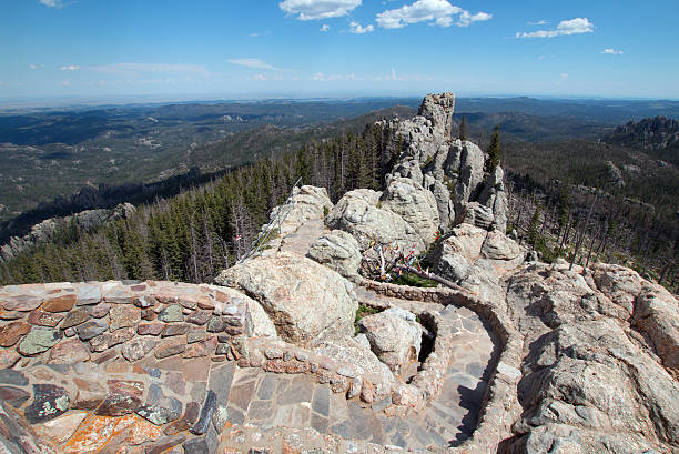 Stone staircase on Harney Peak Fire Lookout Tower Black Hills stock photo
