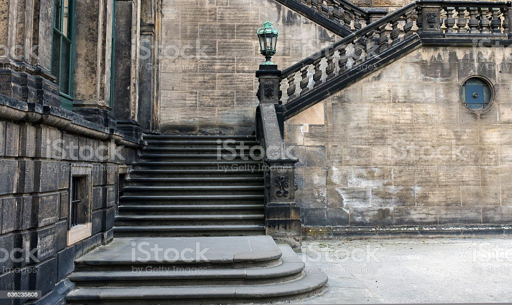 Stone staircase with landing area. stock photo