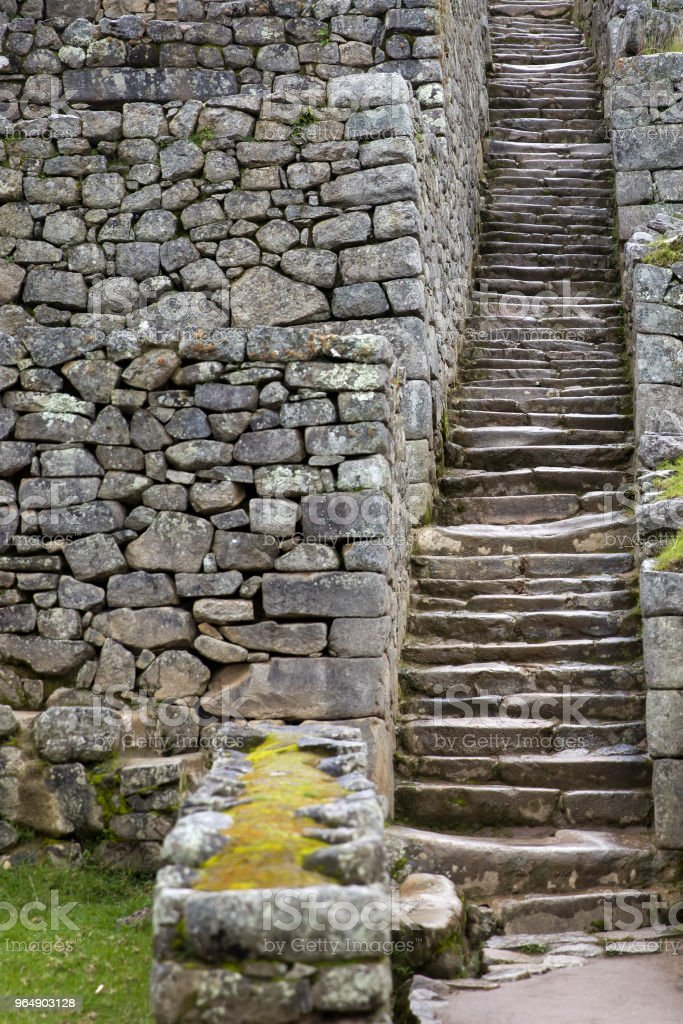 Stone stairs at Machu Picchu, Peru royalty-free stock photo
