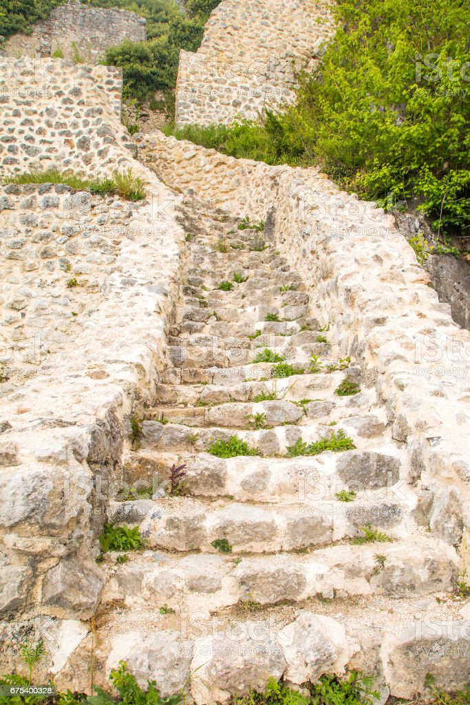 Stone stairs in medieval fortress photo libre de droits