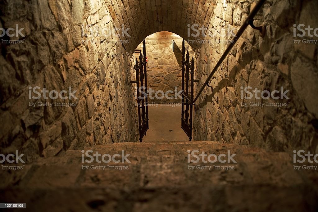 Stone Stairs Leading to Dungeon Area stock photo