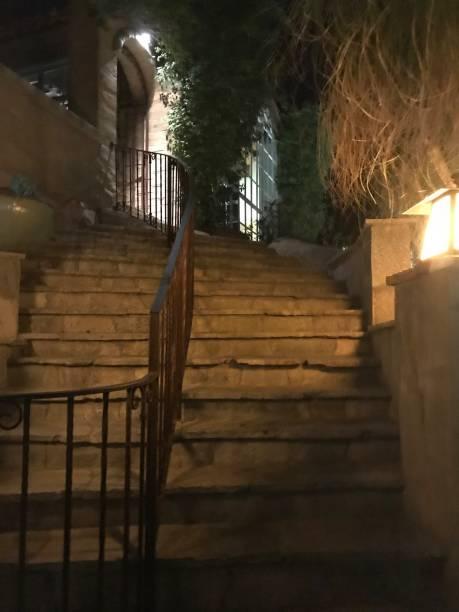 Stone stairs - night stock photo