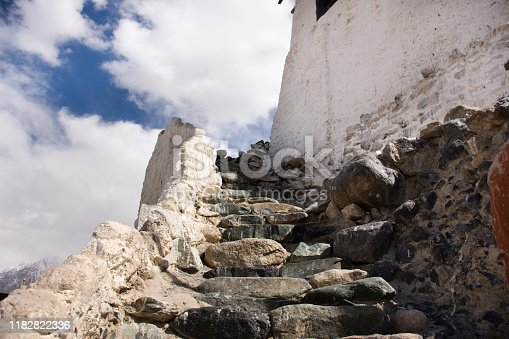 Stone stairs steps up approach to Diskit Monastery Galdan Tashi Chuling Gompa in Hunder or Hundar village of nubra tehsil valley while winter season at Leh Ladakh in Jammu and Kashmir, India