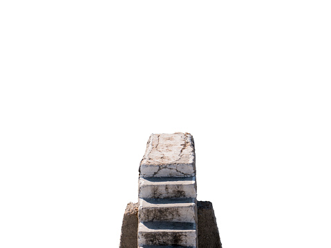 Old lonely stone stairway top view isolated on white