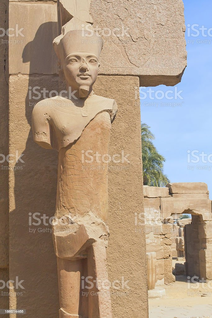 Stone statue in the Karnak temple (Luxor, Egypt) royalty-free stock photo