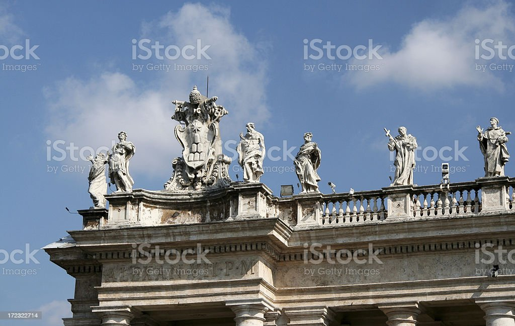 Stone Statues at the Vatican stock photo