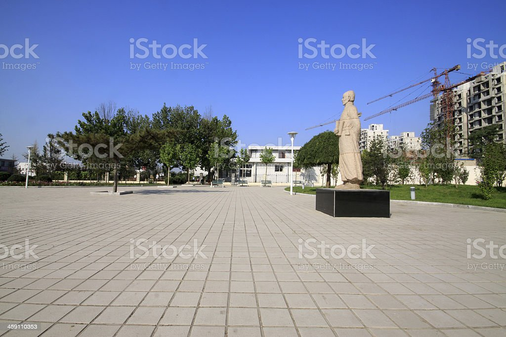 stone statues in the square royalty-free stock photo
