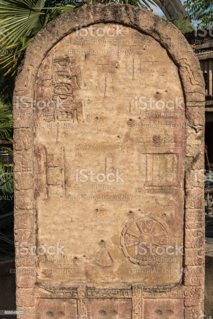 Stone Stele inside a Park in Italy stock photo