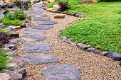 Stone stepping pathway in a Japanese style garden