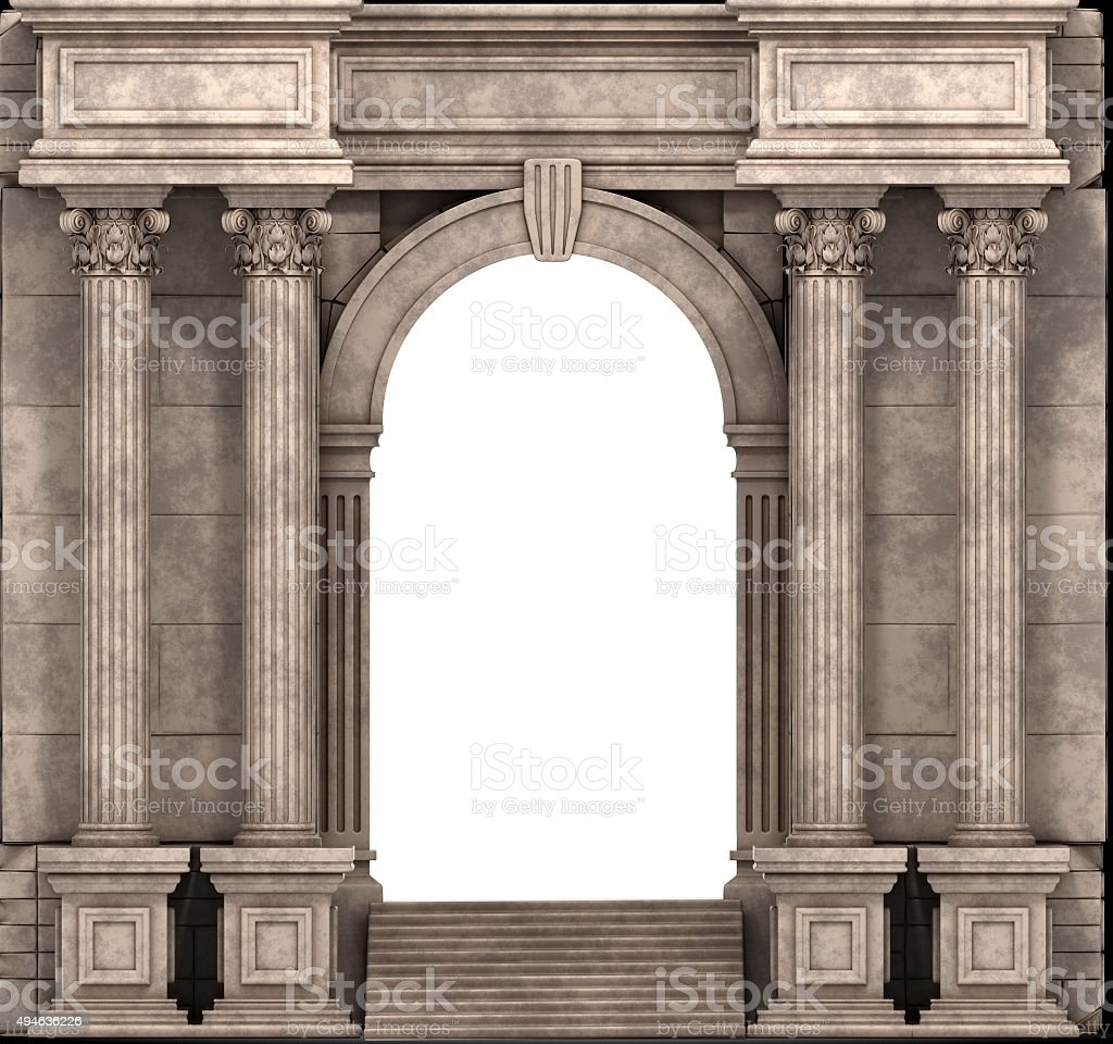 Stone Steps And Entry Way With Corinthian Columns stock photo