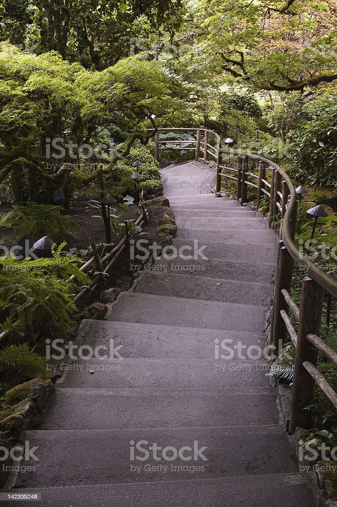 Stone steps down into Japanese Garden, Butchart Gardens stock photo