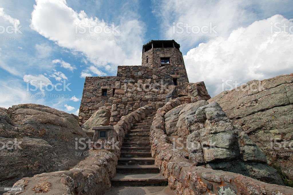 Stone steps on Harney Peak Fire Lookout Tower Black Hills stock photo