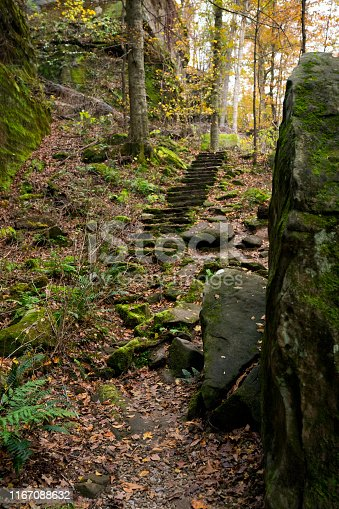 Stone steps on the Pounds Hollow hiking trail on a pretty Autumn day, near Garden of the Gods, Illinois, USA