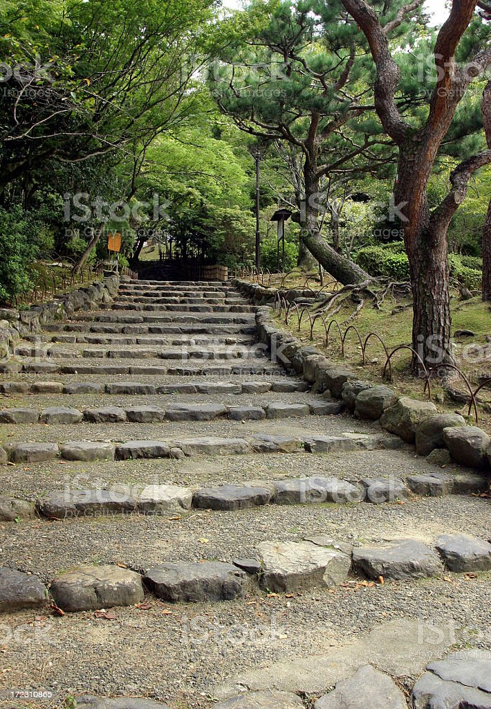 Stone Steps On Path In Park royalty-free stock photo