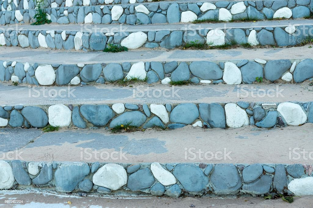 stone steps with an abstract pattern of blue color royalty-free stock photo