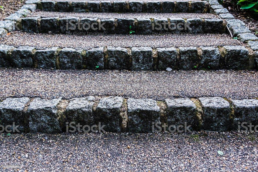 Stone steps with gravel texture - upwards stock photo