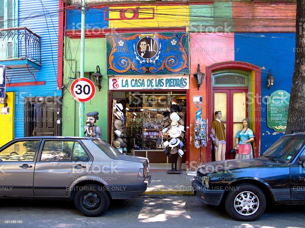 Loja de pedra, Caminito, bairro La Boca, Buenos Aires, Argentina foto royalty-free
