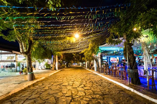 Stone Street at Night in Buzios stock photo
