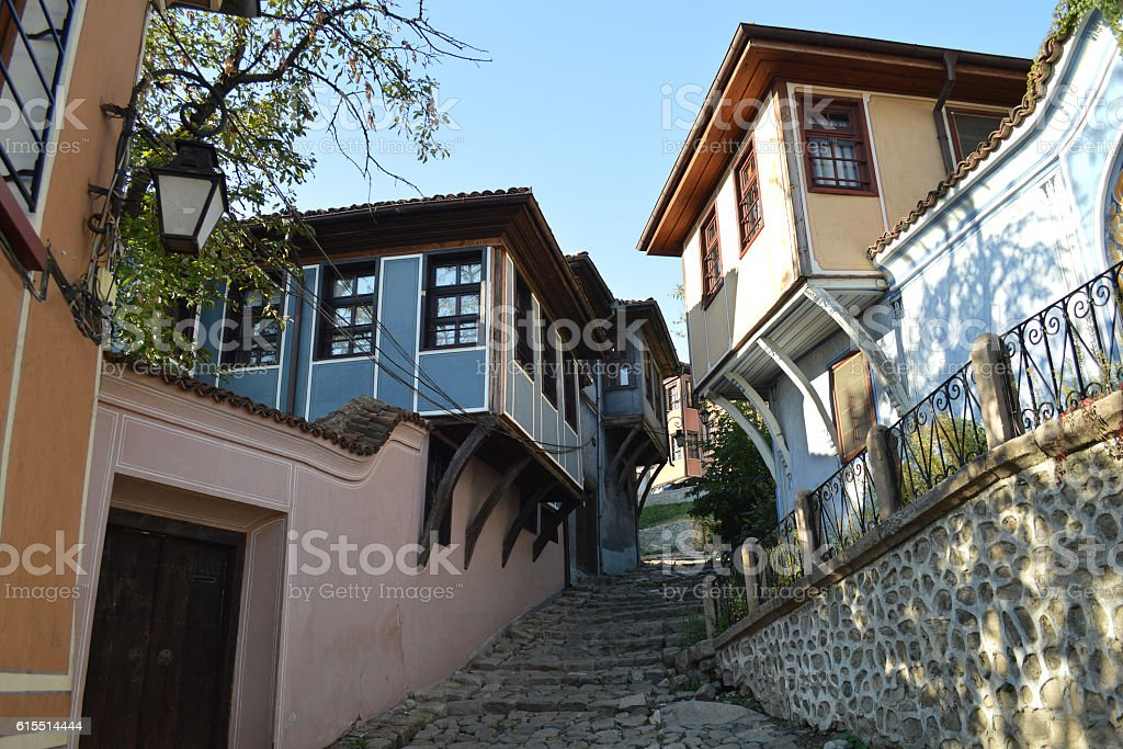 Stone street in the old town of Plovdiv, Bulgaria stock photo