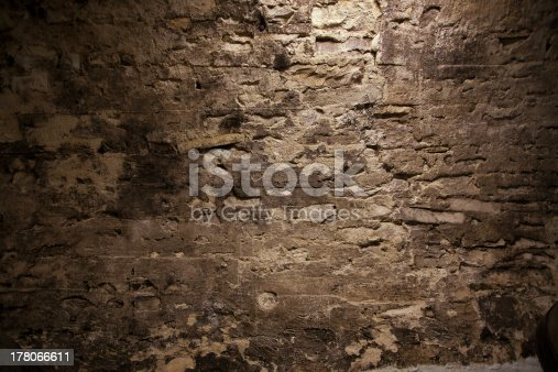 Stone stucco wall with mold in the cellar