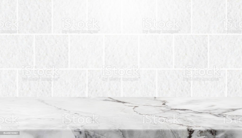 Stone Table Top And Background Of Grey Granite Stone Tile Wall Stock Photo