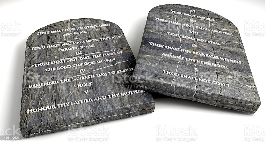 Stone tablets with Ten Commandments stock photo