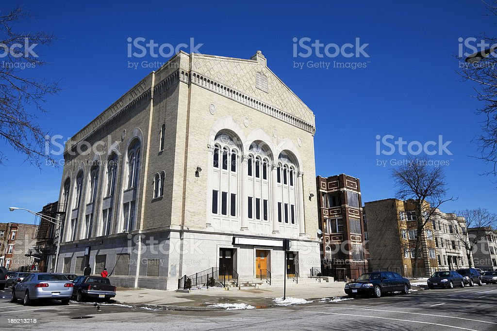 Stone Temple Baptist Church in North Lawndale, Chicago stock photo