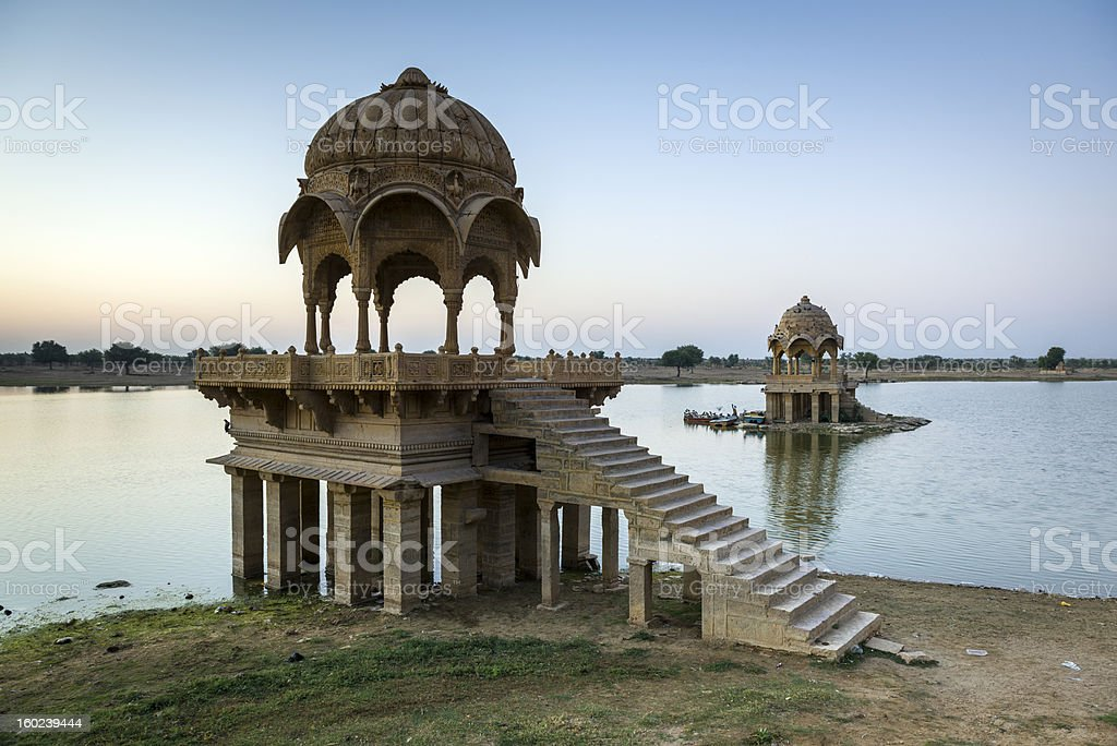 Stone tower in sacred Gadi Sagar lake, Jaisalmer royalty-free stock photo