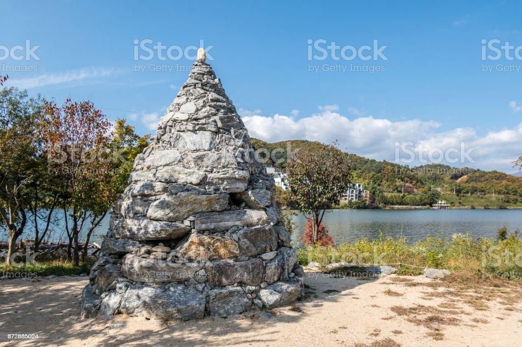 Stone tower on Nami Island in South Korea stock photo