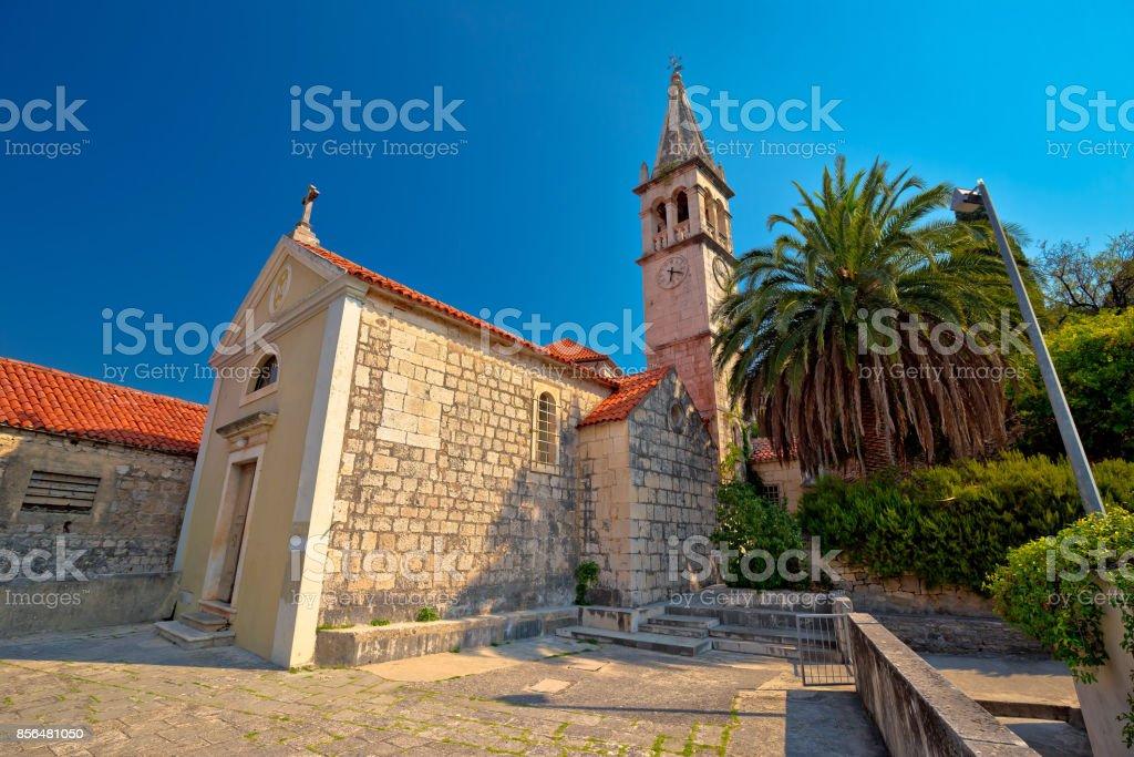 Stone village of Splitska church and street view, island of Brac, Croatia stock photo
