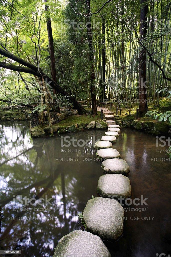 Stone walk at Tenjuan temple, Nanzenji complex. Kyoto, Japan royalty-free stock photo