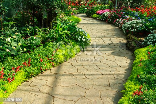 Stone walkway in flower garden. Annual flower exhibition in Chiang Mai, Thailand.