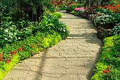 Stone walkway in flower garden. Annual flower exhibition in Chiang Mai, Thailand.