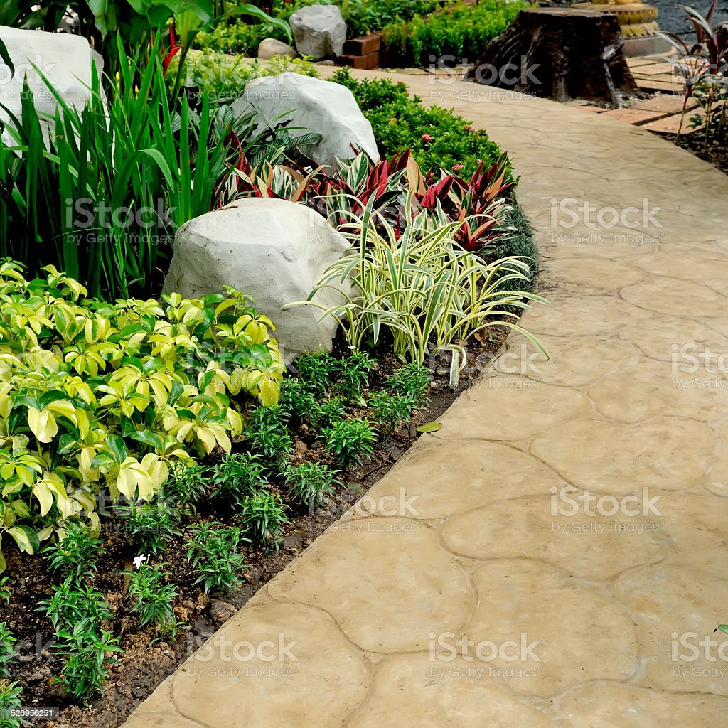 stone walkway in garden stock photo