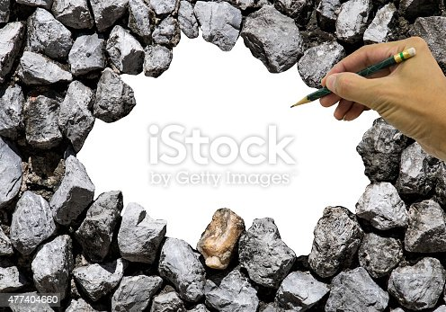 istock Stone wall and space in the center 477404660