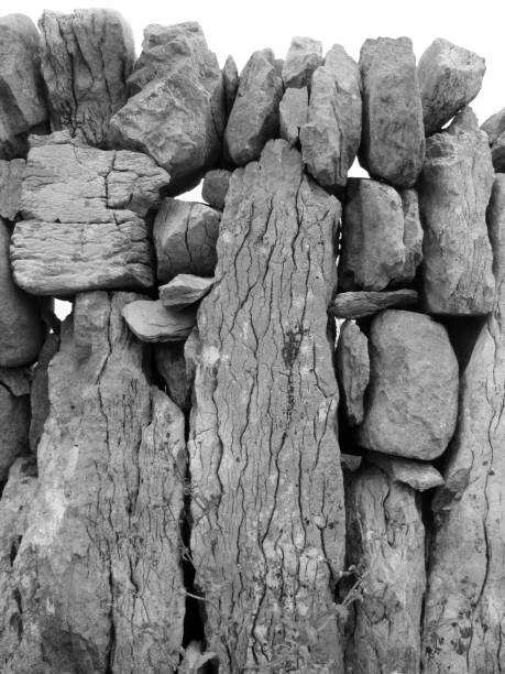 Stone wall, Aran Islands, Connemara, Ireland stock photo