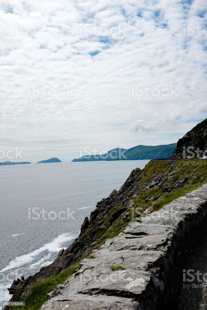 Stone wall by the Sea stock photo