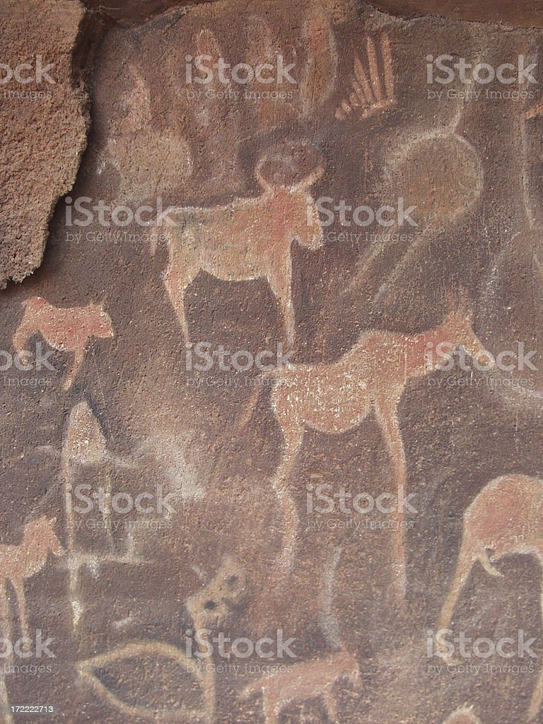 Stone wall drawings - vertical royalty-free stock photo