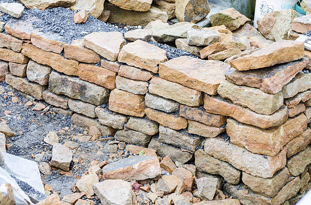 stone wall, drywall, sandstone - stack rock stock pictures, royalty-free photos & images