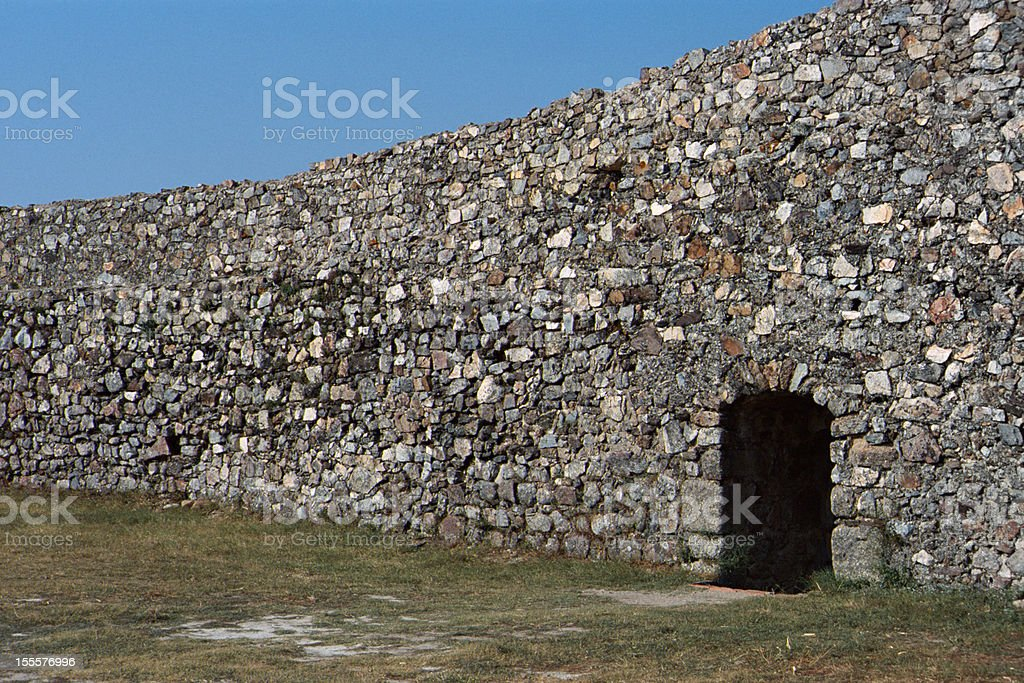 Stone wall fortification in Marvao, Portugal royalty-free stock photo
