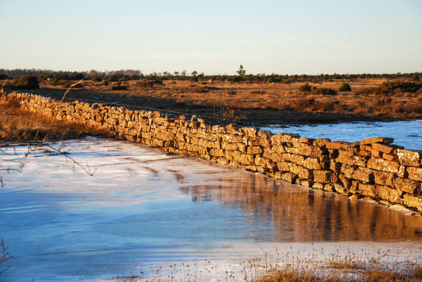 Stone wall in a great plain landscape stock photo