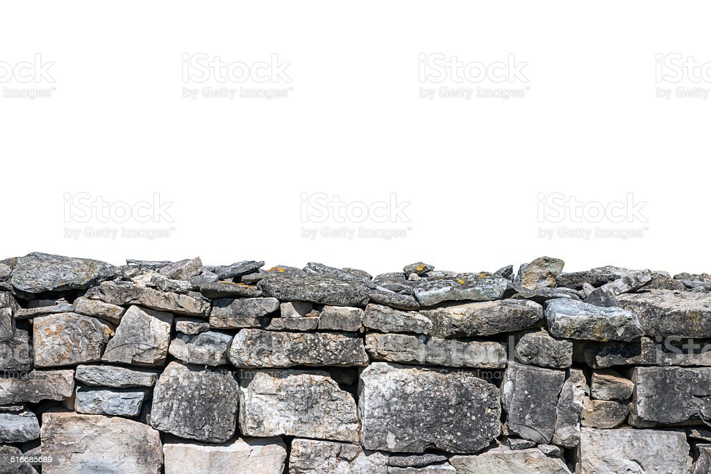 Stone wall isolated stock photo