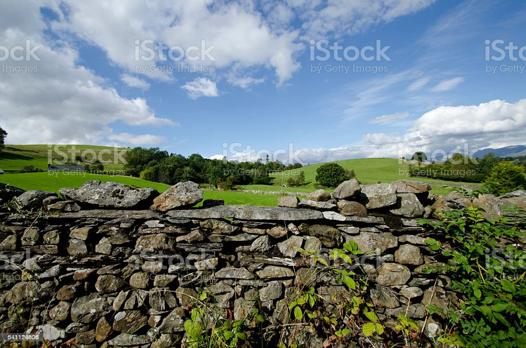 Stone wall, Lake district, United Kingdom stock photo